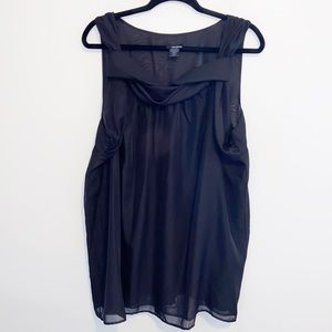 Pat Rego Black dressy semi sheer flowy blouse 2X
